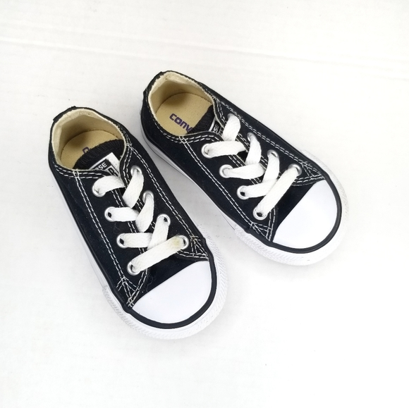 Converse All Star black low top sneakers toddler 5